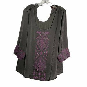 Cowgirl Up Blouse Satin Embroidered Scoop Neck 3/4 Sleeve Gray Purple Womens XXL